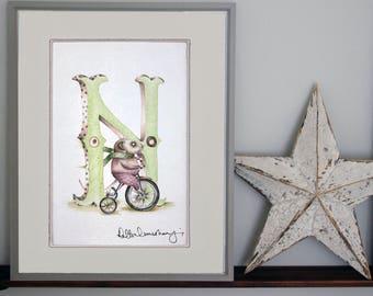 Customised alphabet print N -Personalised Illustrated letter - Children's illustration - Original hand drawn alphabet print - nursery wall
