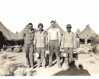 """Vintage Snapshot """"Defending Our Country"""" WWII Army Men Helmets Tents Military Uniforms Pots & Pans Found Vernacular Photo"""