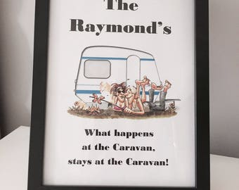 Personalised 'What Happens at the Caravan' Print with Frame