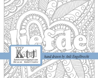 "Coloring pages for adults ""Liefde"" meaning ""Love"" instant download hand drawn"