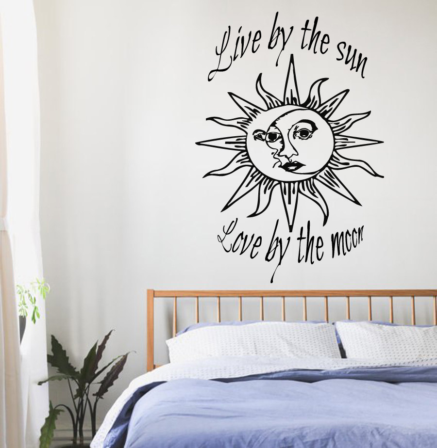 Sun And Moon Quotes Wall Decals Quotes Sun Moon Crescent Dual Ethnic Stars Night