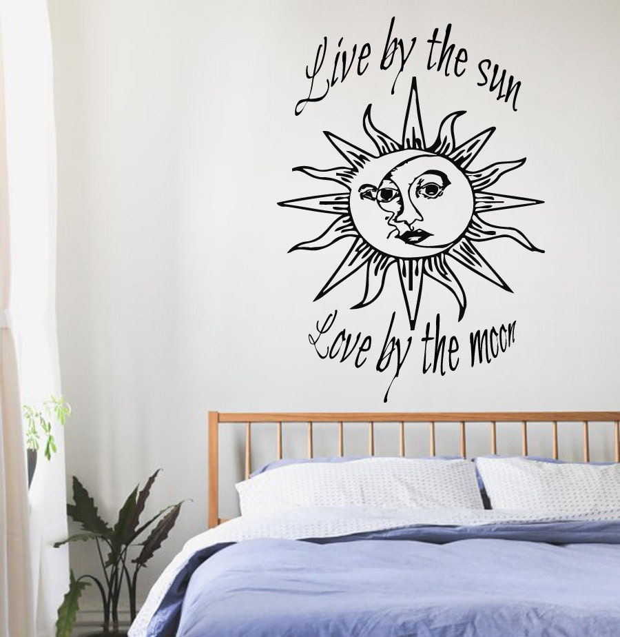 Sun And Moon Quotes: Wall Decals Quotes Sun Moon Crescent Dual Ethnic Stars Night