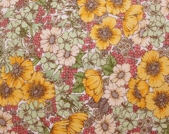 SALE - Liberty tana lawn printed in Japan - Gloria flowers  - Yellow khaki mix