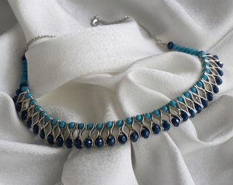 Ocular Patch - Glass Beaded Blue Necklace