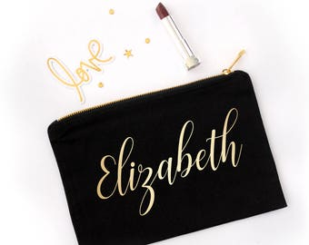 Personalized Makeup Pouch, Gold Foil Cosmetic Bag, Bridesmaids Gift, Flower Girl Gift, Gold Heart Cosmetic Pouch, Pencil Case, School Pouch