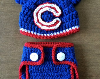 Chicago Cubs Crocheted Diaper Cover Set