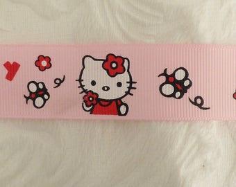 Grosgrain pink cat and butterflies