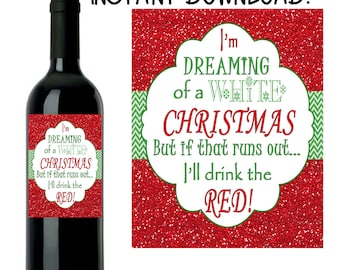 Christmas Wine Label, Custom Christmas Wine Label, Christmas Wine, Custom Wine Label, INSTANT DOWNLOAD DIY