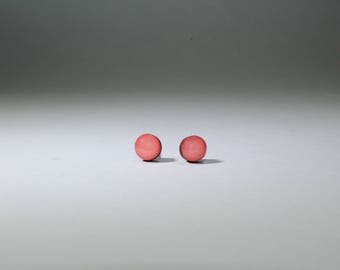 Small Pink Coral Stud Earrings, Wood Studs, Hand Painted, Hypoallergenic, Titanium Posts, Sensitive Ears, 6mm, Titanium Studs, Salmon Studs