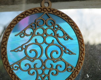 Stained glass xmas tree hanger