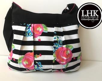 Noir et rose floral plissé bandoulière sac sac à main sac fourre-tout avec doublure rose à rayures