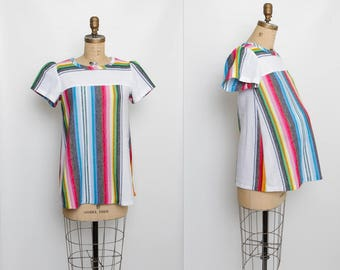 vintage 80s maternity top | colorful striped shirt