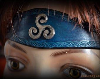 "Leather ""spirit breizh"" Tiara blue version"