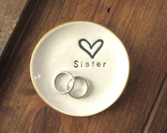 Ring dish, wedding ring holder, Sister gift, Gold edge, White pottery, Gift Boxed, IN STOCK