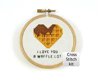 Je t'aime beaucoup gaufre cross stitch kit, drôle de croix kit de point, kit de bricolage, bricolage au point de croix, la Saint-Valentin drôle, mini au point de croix