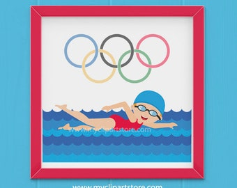 Summer Olympics Clipart - Girl Swimming / Olympic Games (Single Image) - vector graphics, digital clip art, digital images, commercial use