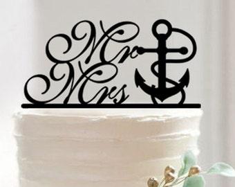 Bakell™ Silhouette Nautical Anchor Wedding Cake Topper
