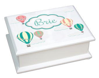 Personalized Jewelry Box Features Hot Air Balloons in soft corals peach aqua teal Custom Jewelry Boxes Travel Nursery baby girl gift JEWEB