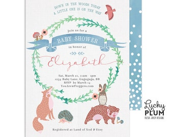 Woodland Baby Shower Invitation / Couples Baby Shower Invitation / Animal Baby Shower Invitation / Forest Baby Shower Invitation / Coed