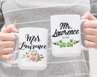 Wedding Gift Mugs - His and Her Mugs - Wedding Gift Ideas - Couples Mugs - Wedding Anniversary Gift - Custom Mugs - Mugs for Couples
