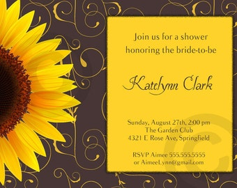SUNFLOWER Bridal or Baby Shower or Birthday INVITATION -Printable Invite - Customizable