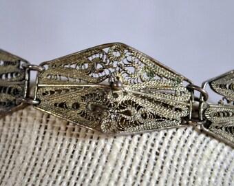 Vintage Silver Fine Filigree Link Panel Bracelet -  Mexico Hallmark