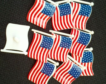 United States Flag Buttons - 1 1/8 inch x 1 inch - 10
