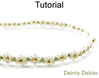 Jewely Making Beading Pattern - Daisy Chain Tutorial - Bracelet Necklace - Seed Beads - Simple Bead Patterns - Dainty Daisies #5173