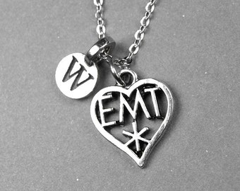 EMT Necklace, Emergency worker necklace, emergency medical technician, Hospital Worker, personalized jewelry, initial necklace, monogram