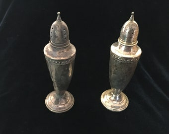 Vintage Reed and Barton Sterling with Cement Salt and Pepper Shaker Set