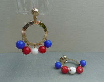 Red White & Blue Mid Century Hoop Earrings with Dangle Beads, Sarah Coventry Carnival Jewellery