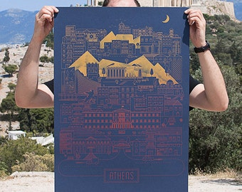 Athens City Silkscreen Poster Print Limited on Ink Curious Metallic Paper