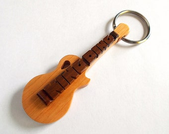 Guitar Name Keychain, Custom Carved in Cherry Wood and Rosewood