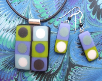 Black and Blue Tic Tac Pendant, Handmade Fused Glass Jewelry