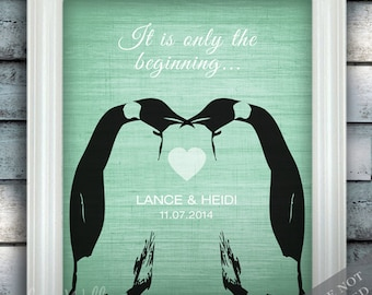Penguin Couple Wedding Love - Custom Date Name Print - Personalized Wedding Gift - Bridal Shower Gift - Unframed
