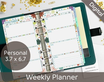 Weekly Planner Printable, Filofax Personal Printable, Wo1P, Wo2P, Undated, Personal Ring Weekly Inserts, Planner Pages, Syasia Cute Floral