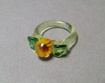 Glass Sunflower with Leaf and Vine Sculptured Ring gift for Ladies