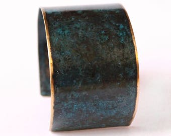 Bellatrix - Black & Teal Swirl Brass Patina Cuff Bracelet