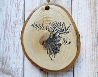 Moose Tree Slice Ornament Rustic Woodland Forest Creature Home Decor Christmas Ornaments