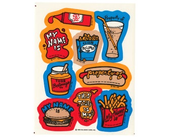 Vintage 80's HALLMARK Stickers Sheet ~ JUNK FOOD Burger & Fries