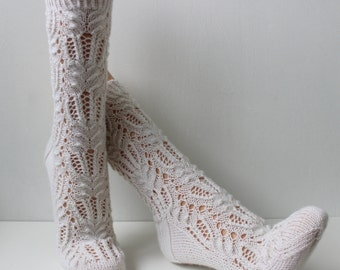 Hand knitted wool lace socks, white socks, bed socks