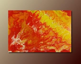 Art Print: Falling Into the Sun; abstract fluid art acrylic pour painting; wall art print; housewarming gift