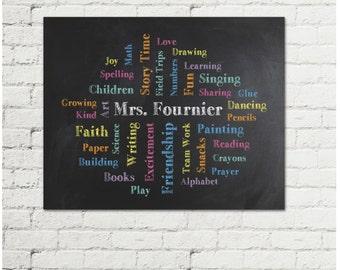 Personalized Teacher Gift - Teacher Name Word Cloud - Gift for Teacher - Preschool Teacher Gift - Classroom Art
