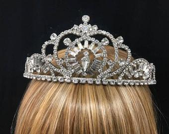 Wedding crown etsy vintage regal rhinestone crown tiara with baguette rhinestones tear drop center rhinestones elegant wedding junglespirit Choice Image