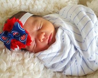 Chicago Cubs Headband/ Cubs Headband/ Red & Blue Headband/ Cubs// Chicago Cubs/ Newborn Headband/ Girl Headband/ Baseball Headband/ Cubs Bow