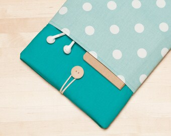 Macbook air 13 case / Laptop case  / Macbook pro 13 sleeve /  Laptop sleeve / padded with pockets  - Dots in teal