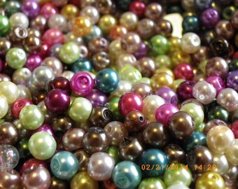 150 Pearly glass beads 6 mm mix of beautiful colors