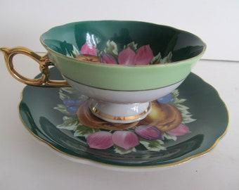 Pear Decor Green Tea Cups Jadeite China Tea Cup Fruit Tea Cup Saucer Set Royal Sealy China Japan Tea Cups