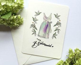 Bridesmaid Thank You Cards - To My Bridesmaid - Thank you Bridesmaid Cards - Maid of Honor Card - Maid of Honor Card - Bridesmaid Gifts