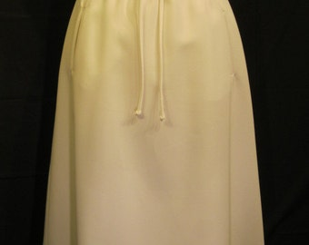 1970s Panther White Skirt With Drawstring Belt